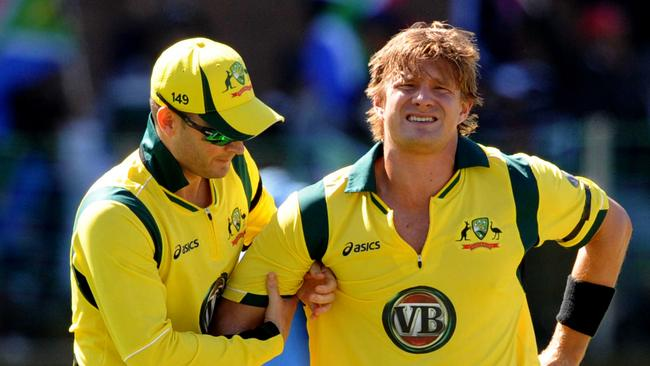 Shane Watson injures himself against South Africa in 2011.