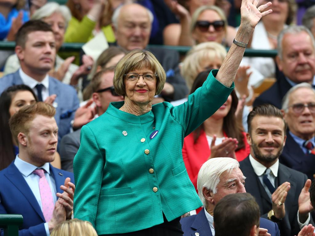 LONDON, ENGLAND - JULY 02: Margaret Court is announced to the crowed on day six of the Wimbledon Lawn Tennis Championships at the All England Lawn Tennis and Croquet Club on July 2, 2016 in London, England. (Photo by Julian Finney/Getty Images)