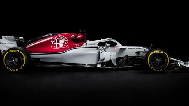 A side-on angle of the new Sauber car.