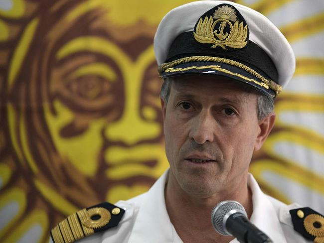 Argentine Navy spokesman Captain Enrique Balbi delivers a press conference at the Navy headquarters in Buenos Aires. Picture: AFP