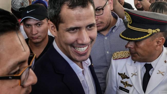 Venezuelan opposition leader and self-proclaimed acting president Juan Guaido is poised to return. Picture: AFP