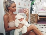 Hannah Polites with newborn daughter Evaliah