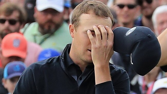 Jordan Spieth can't believe he missed a putt on the 18th hole.