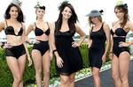 <p>Legging it at the races... Ricki-Lee Coulter is joined by models for the launch of the Curves Intimates range of underwear at Royal Randwick Race Course, Randwick. Picture: Robb Cox</p>