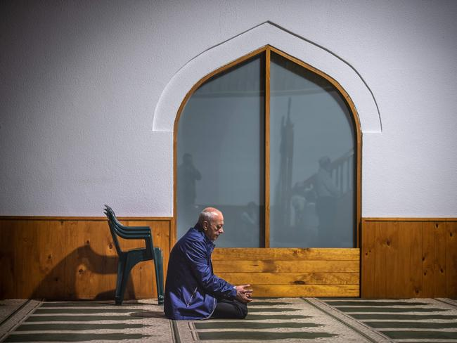 Aiia Maasarwe's father Saeed grieves at the Albanian Islamic Centre of Dandenong. Picture: Jason Edwards