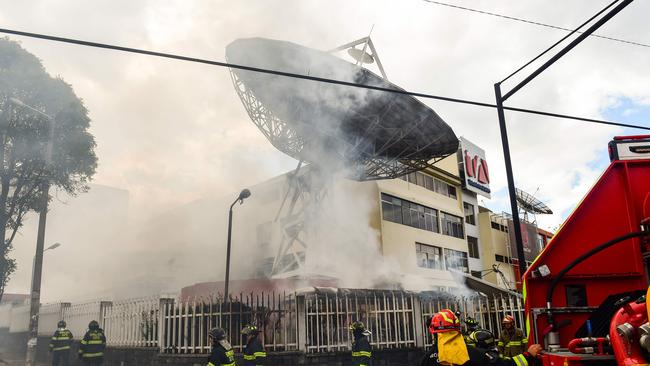Ecuadorean TV station Teleamazonas was attacked by demonstrators. Picture: Martin Bernetti/AFP