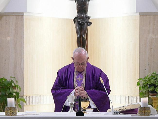 Pope Francis celebrates Mass at the Santa Marta chapel at the Vatican, Friday, February 16. Picture: AP