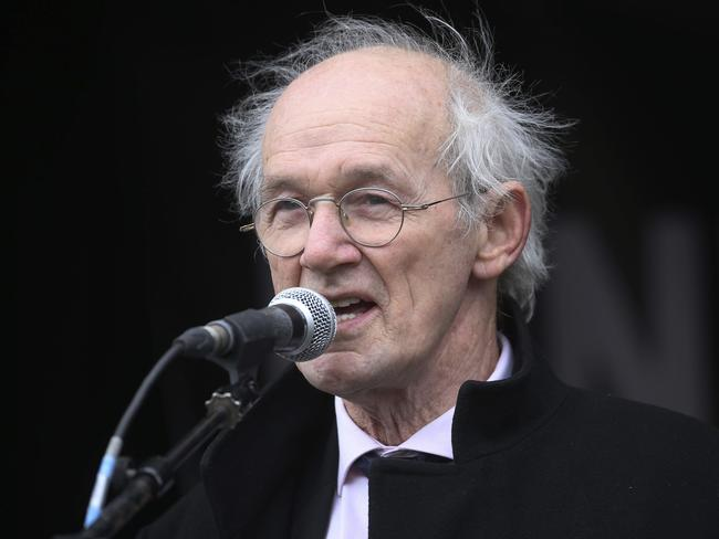 Julian Assange's father John Shipton speaks at the protest. Picture: AP