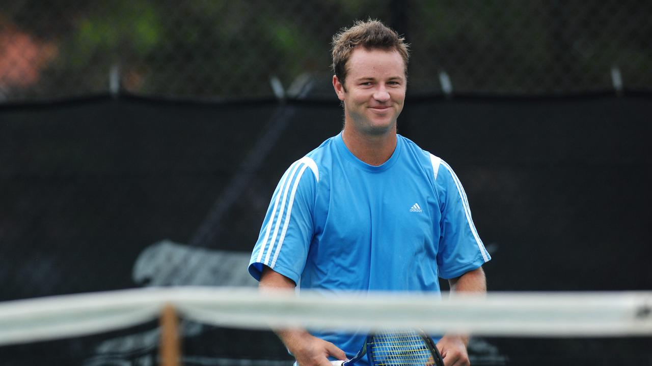 Australian tennis player Todd Reid plays his first match at the 2008 APS Manly Seaside Tennis Championship at the Manly Lawn Tennis Centre.