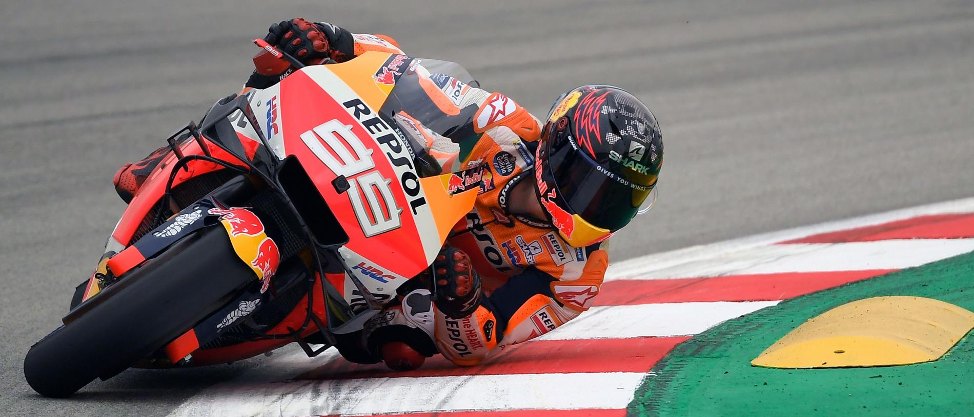Repsol Honda Team's Spanish rider Jorge Lorenzo rides during the Catalunya MotoGP Grand Prix first free practice session at the Catalunya racetrack in Montmelo, near Barcelona, on June 14, 2019. (Photo by LLUIS GENE / AFP) (Photo credit should read LLUIS GENE/AFP/Getty Images)