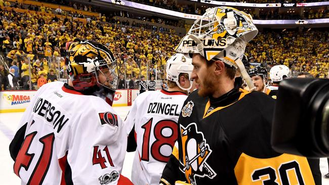 Craig Anderson #41 of the Ottawa Senators congratulates Matt Murray #30 of the Pittsburgh Penguins.