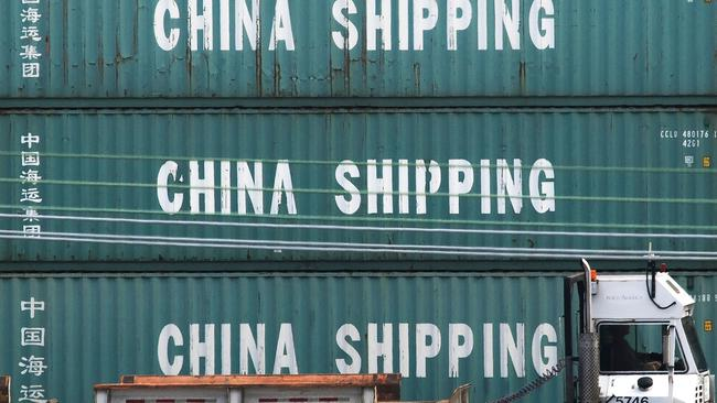 Chinese shipping containers in California. Picture: Mark Ralston/AFP