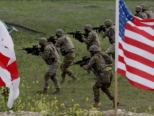 Sending a message... US and Georgian servicemen take part in a joint exercise outside the Georgian capital. Source: AP