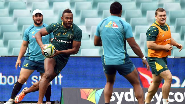 New Australia winger Eto Nabuli during the team's captain's run in Sydney.