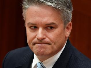 Minister for Finance Senator Mathias Cormann after announcing the government cannot pass the company tax cut bill in the Senate chamber at Parliament House in Canberra, Tuesday, March 27, 2018. (AAP Image/Mick Tsikas) NO ARCHIVING