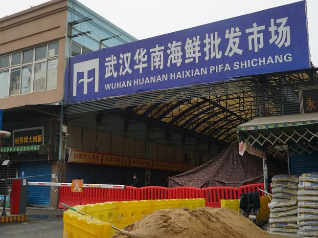 The Wuhan Huanan Wholesale Seafood Market, where a number of people related to the market fell ill with the coronavirus. Picture: AP/Dake Kang.