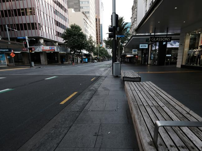 An empty Queen Street in Auckland after lockdown in New Zealand on Thursday. Picture: Bradley White/Getty Images