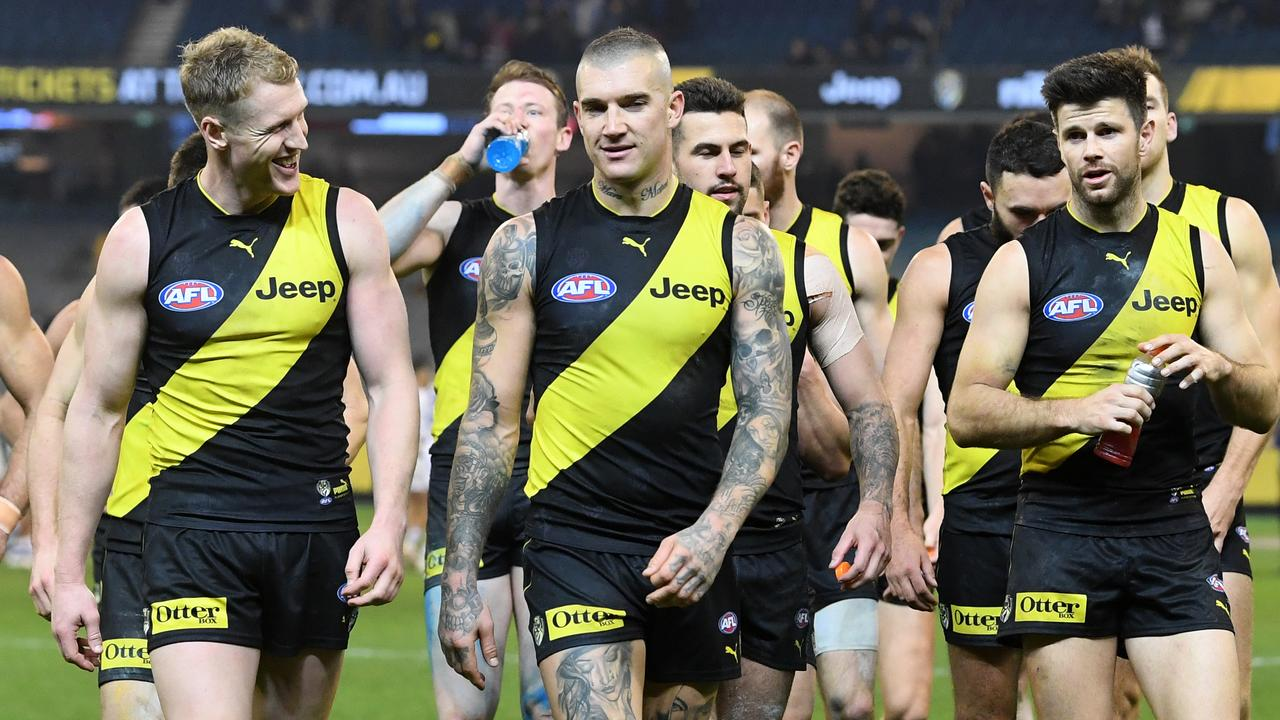 Dustin Martin's Tigers face Adelaide in a tough task.