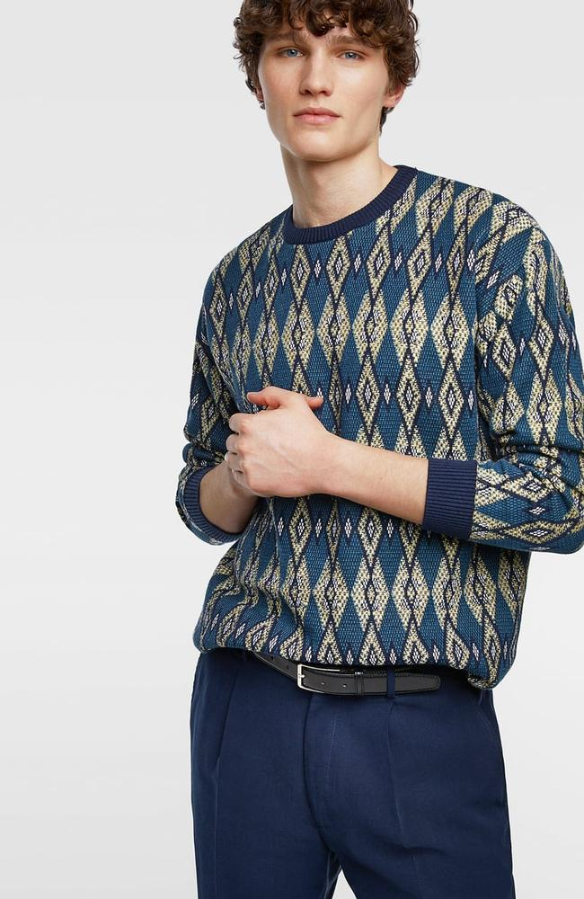 Jacquard pattern sweater, $79.95.