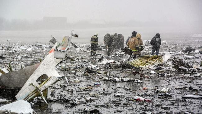 The crash of a FlyDubai passenger plane at Rostov-on-Don in March, 2016 was one of Russia's deadliest recent air disasters. Picture: AFP/Russian Emergencies Ministry/STR