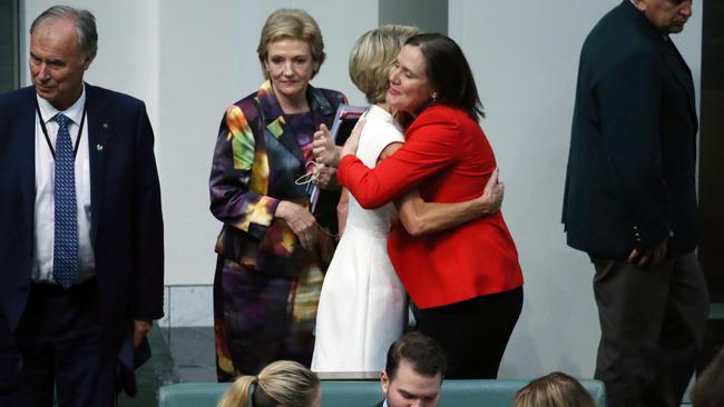 Kelly O'Dywer and Julie Bishop sharing a hug after the speech. Picture: Gary Ramage