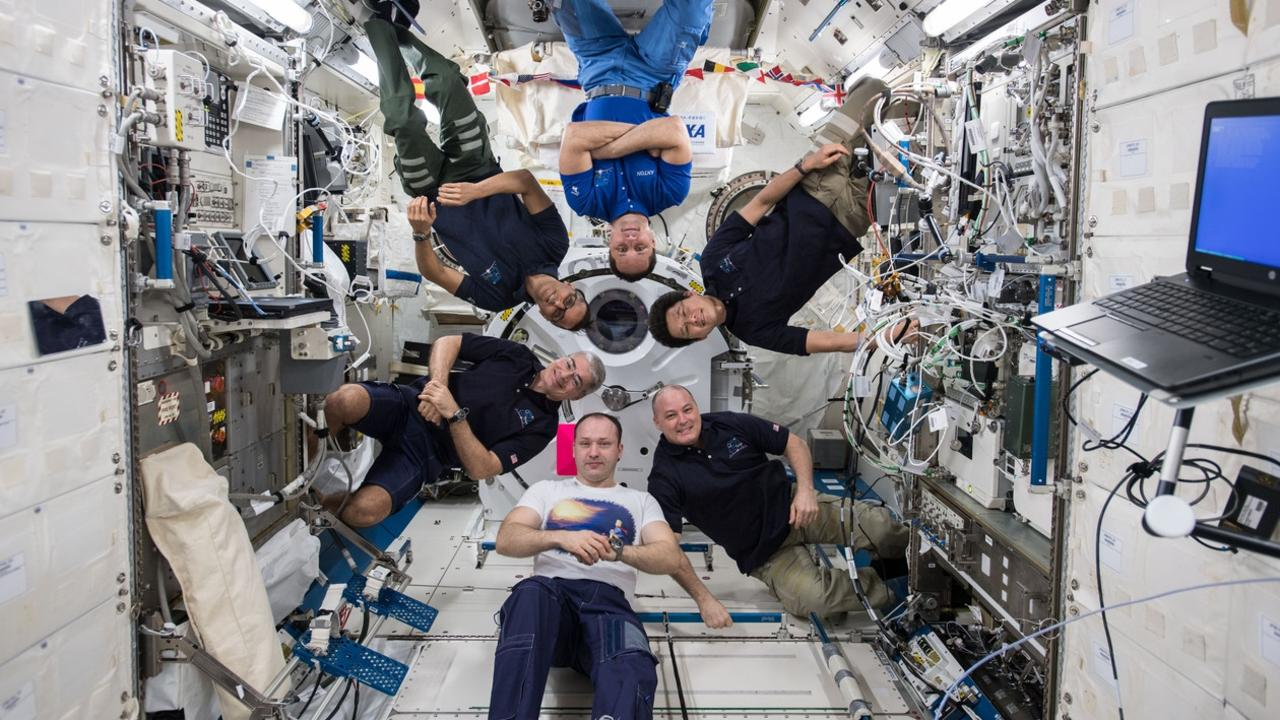These astronauts, photographed on February 18, 2018, are the Expedition 54 crew in the Japanese Kibo laboratory module of the international space station Picture: NASA
