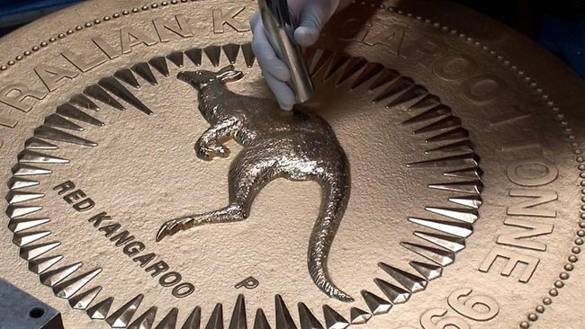 The coin features a bounding red kangaroo on one side, and the Queen's motif on the other. Picture: Perth Mint