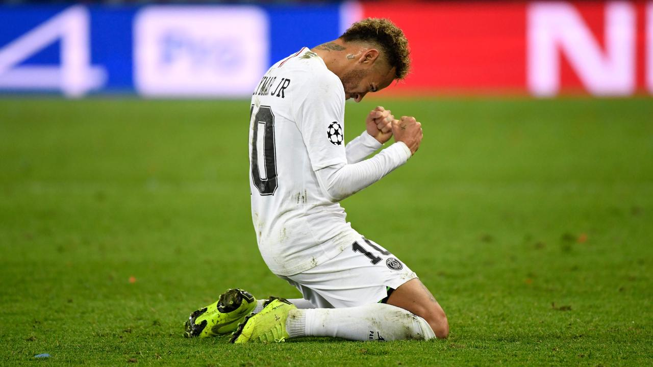 Neymar celebrates at the end of the game.