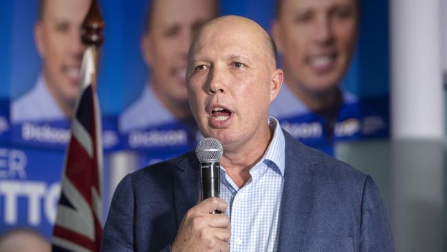 Federal Member for Dickson Peter Dutton thanks supporters in Strathpine after his victory against Ali France in the Federal Election on Election Night in Brisbane, Saturday, 18 May, 2019. Picture: AAP/Glenn Hunt