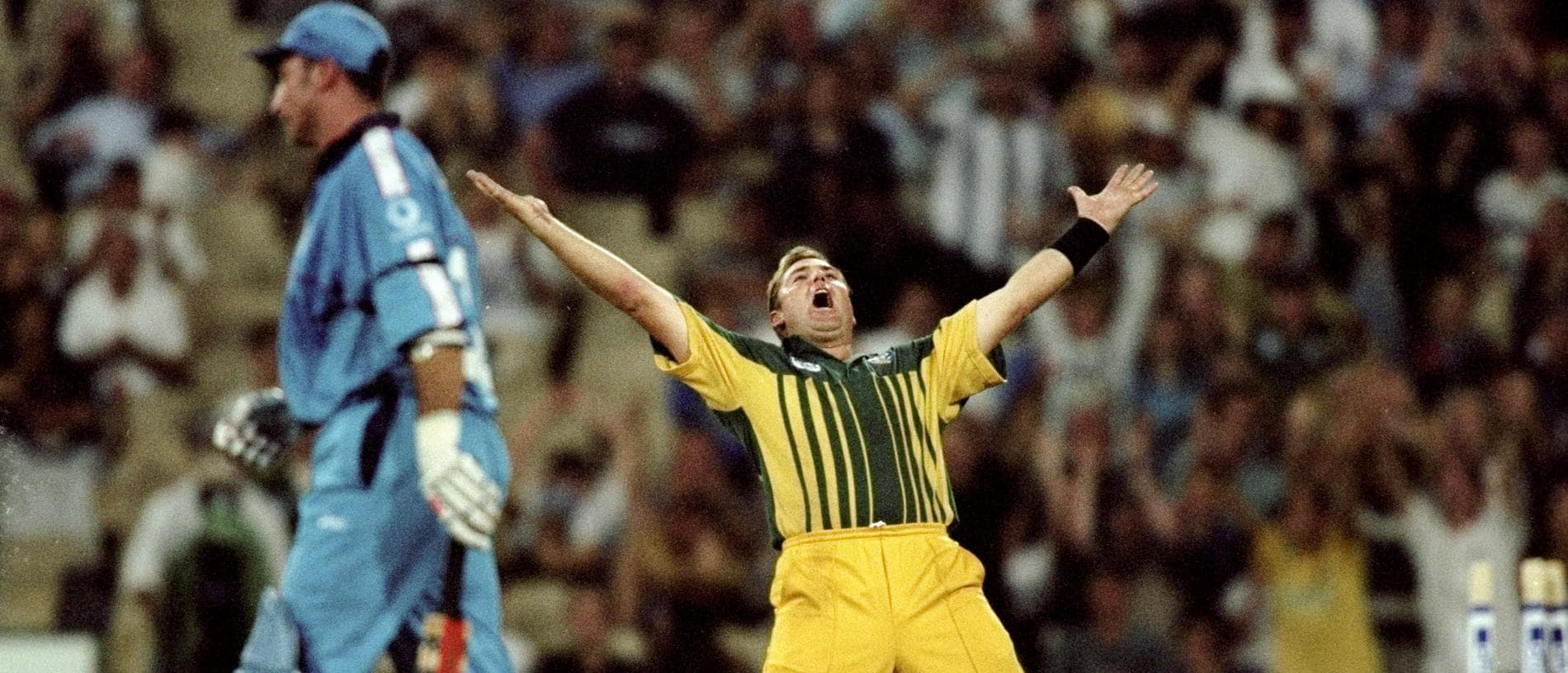 10 Feb 1999:  Shane Warne of Australia celebrates the wicket of Nasser Hussain of England in the first final of the Carlton and United One Day Series at the Sydney Cricket Ground in Australia. Australia won by 10 runs. \ Mandatory Credit: Clive Mason /Allsport