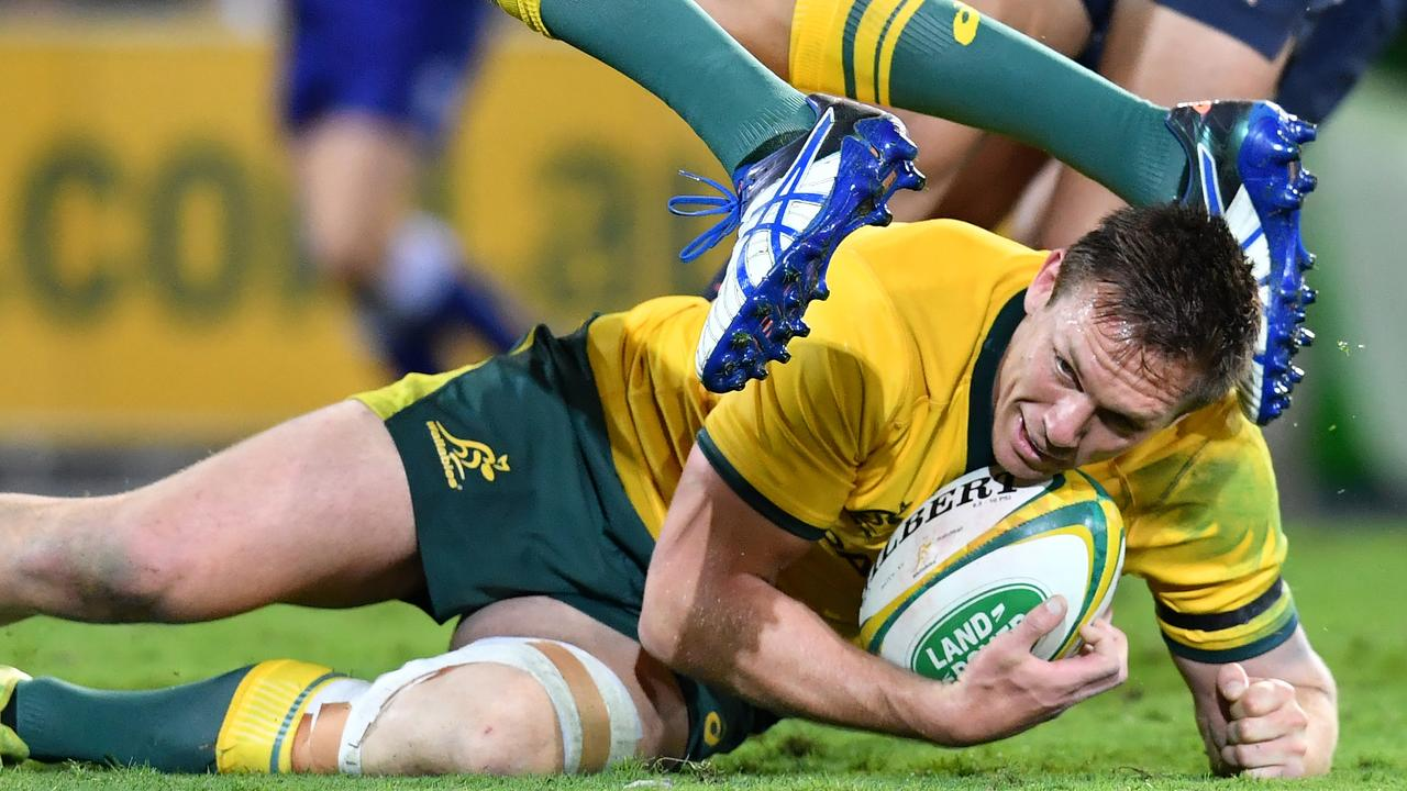 Dane Haylett-Petty of the Wallabies in action during the Rugby Championship.