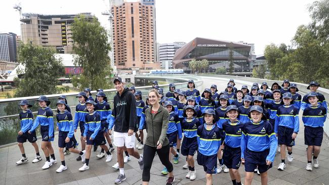 Ball boys and girls - and players Alexei Popyrin and Gabriella Dabrowski - get ready for the Adelaide International. Picture: Sarah Reed