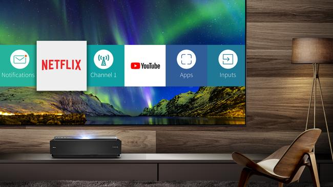 An included smart OS gives easy access to streaming services.