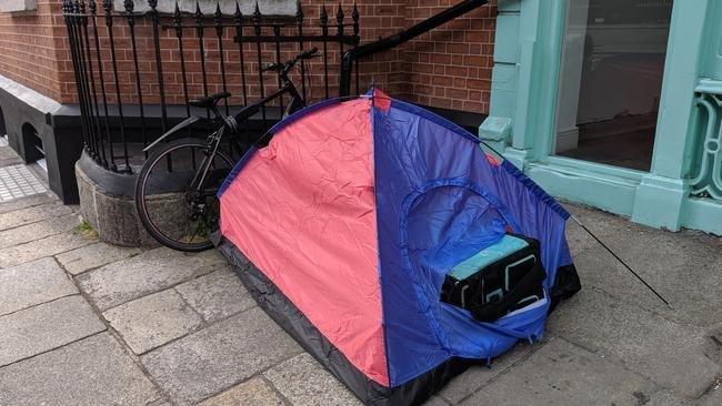 The photo apparently shows a Deliveroo worker sleeping rough. Picture: Twitter/@Ireland_Greener