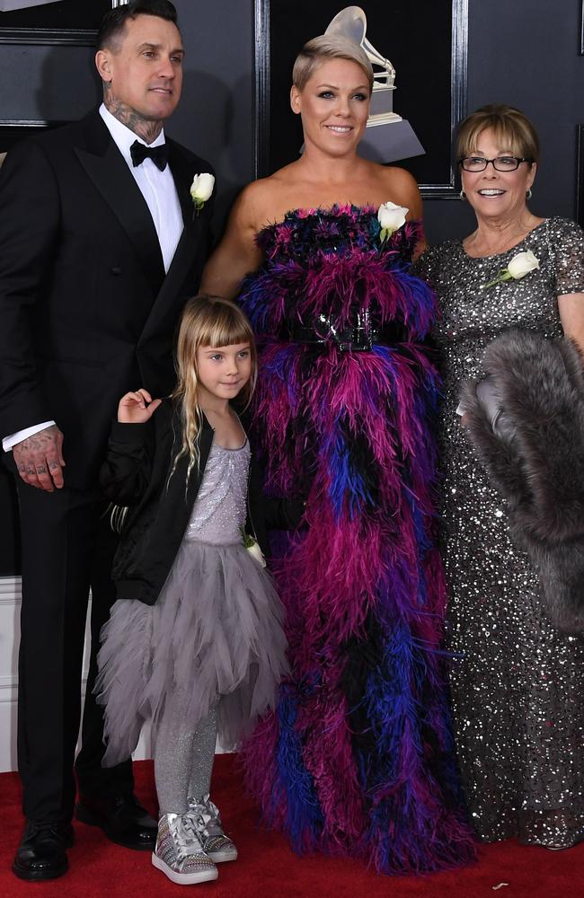 Carey Hart, Willow Sage Hart, recording artist Pink, and her mum Judith Moore arrive for the 60th Grammy Awards. Picture: AFP