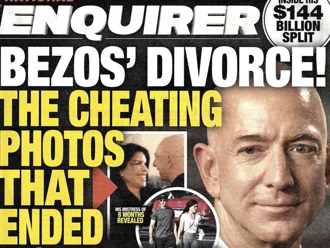 The National Enquirer has published multiple stories about Jeff Bezos' marriage breakdown. Picture: National Enquirer via AP