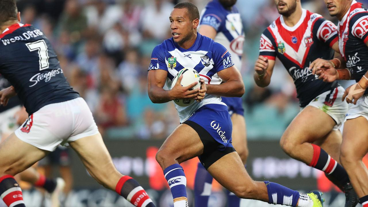 Moses Mbye's sparkling form at fullback for the Bulldogs makes him a viable Queensland utility option. Photo: Brett Costello