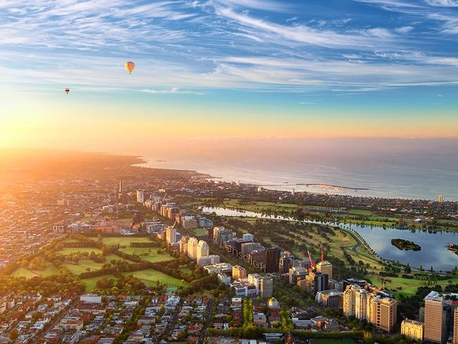Sunrise over the Victorian capital. Picture: Andrew Griffiths/Lensaloft Photography