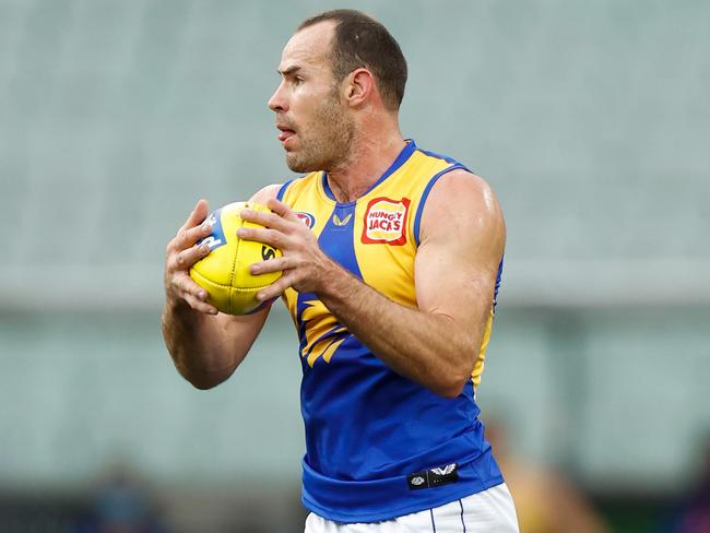 On Saturday, Shannon Hurn became the first man in history to play 300 games for the West Coast Eagles. (Photo by Michael Willson/AFL Photos via Getty Images)