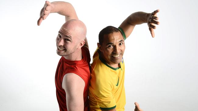 Justin Howard, left, learned capoeira a decade ago and now teaches the artform to others and Paulo Dias, known as Mestre Goioere, teaches Capoeira from his Malaga studio. Picture: Richard Hatherly