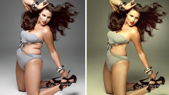 Candice Huffine, before and after shots for V Magazine. Image: Bored Panda