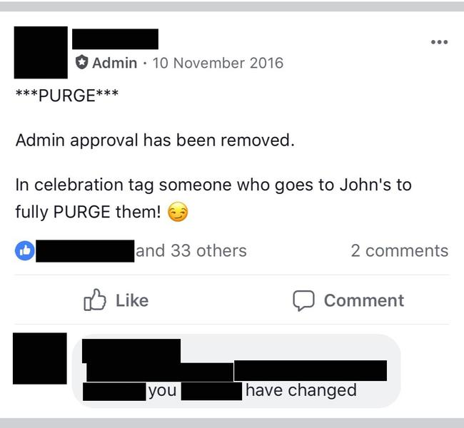 A post announcing the beginning of the 2016 'Purge'.