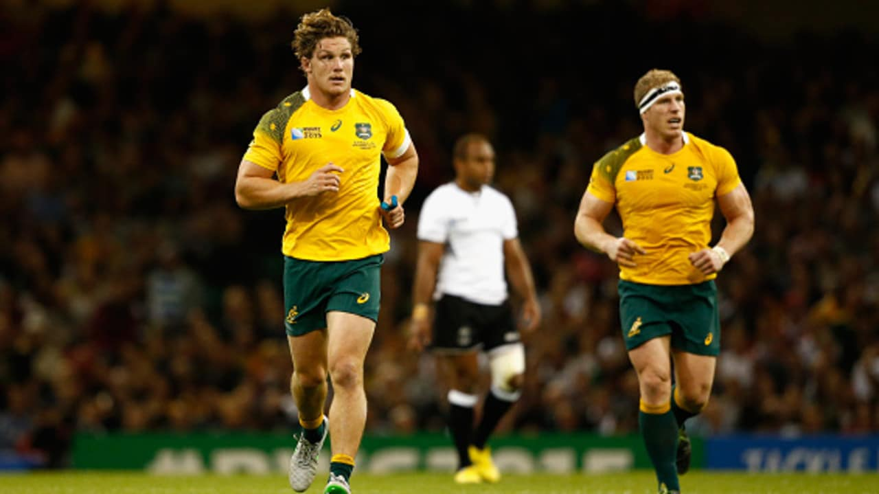 Michael Hooper and David Pocock of Australia in action during the 2015 Rugby World Cup.