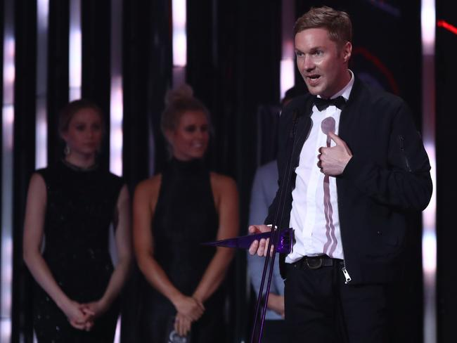Drapht accepts the ARIA for Best Urban Album during the 30th Annual ARIA Awards. Picture: Getty