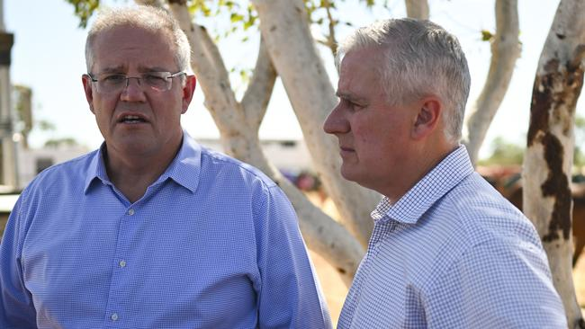 Australian Prime Minister Scott Morrison and Australian Deputy Prime Minister Michael McCormack. Picture: AAP/Lukas Coch
