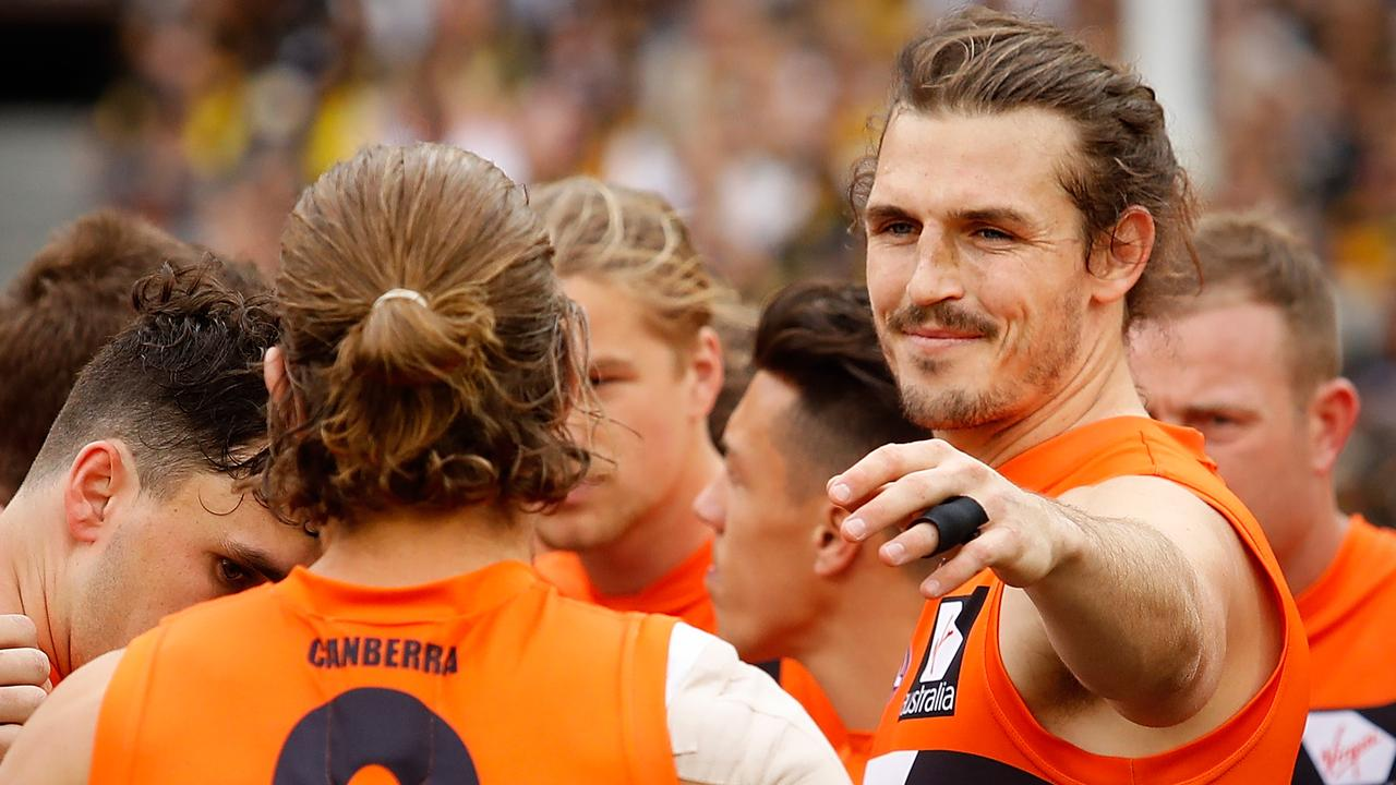 The captains who have been there from the start: Callan Ward and Phil Davis of the GWS Giants.
