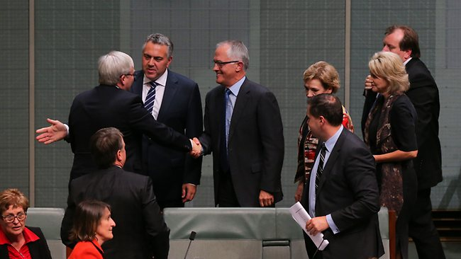 Kevin Rudd is congratulated by Joe Hockey and Malcolm Turnbull after resigning in the House of Representatives chamber at Parliament House in Canberra. Picture: Kym Smith