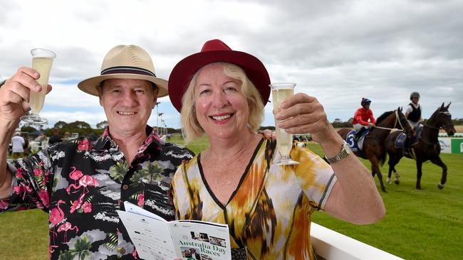 "John and Dawn McElhinney enjoyed a day at the races at Cygnet River, Kangaroo Island. They are from north of Cairns and are travelling around Australia, and decided to visit KI due to the ""Book Them Out"" campaign. Picture: Naomi Jellicoe"