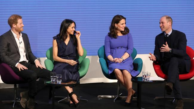Harry, Meghan, Kate and William in London last year. Picture: Getty Images
