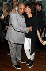 Quincy Jones and Rashida Jones attend the Absolut Elyx Hosts Mark Ronson's Grammy's after party at Elyx House Los Angeles on February 15, 2016. Picture: Getty